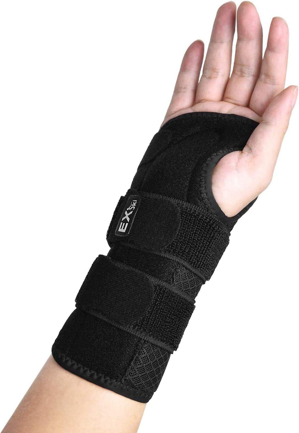 EXski Carpal Tunnel Wrist Brace (Single), Night Wrist Support Brace with Double Splints Adjustable Straps Right Left Hand
