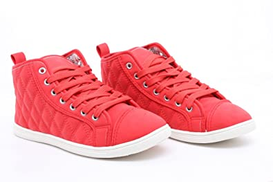 ef6bd52e836 T Adore Womens Shoes Girls Hi High Top Ladies Flat Ankle Trainers Pumps -  RED