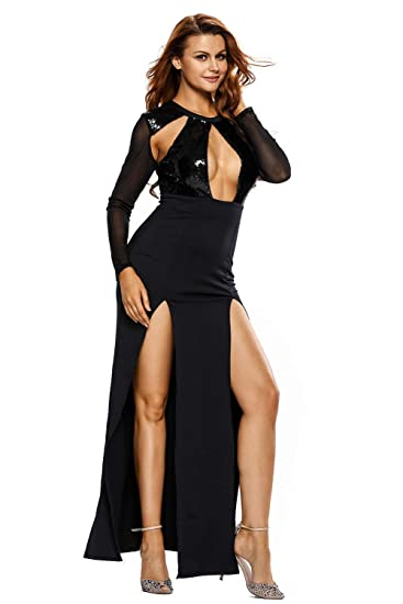 574e10cb3 Kaamastra Women s Maxi Black Dress(KA LC6245