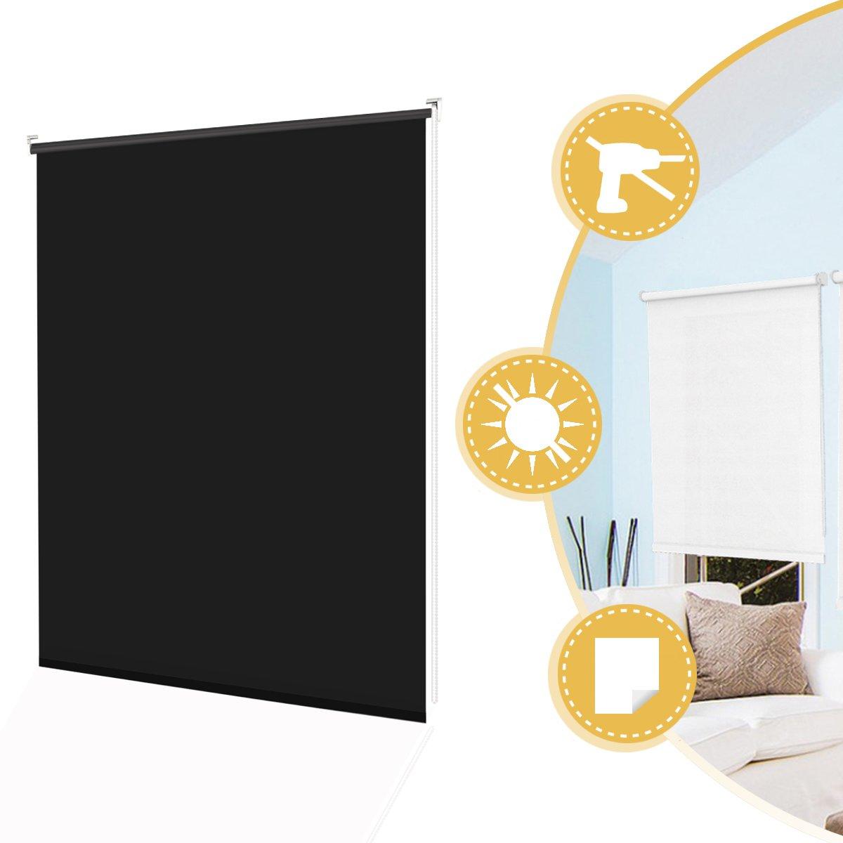 2 Types de Fixations Store Enrouleur Occultant Thermique sans Per/çage Beige 45 x 160 cm 100/% Opaque Contre UV