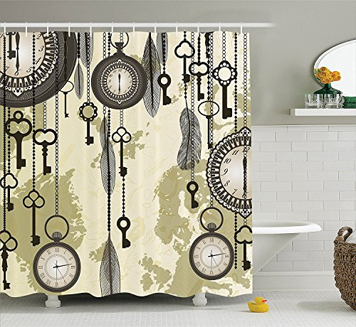 Antique Decor Shower Curtain Set Old Days Design with 20s Cultural Items and Tribal Feathers Changing Trends Print Bathroom Accessories Green Grey