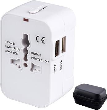 Adaptador Enchufe de Viaje Universal Enchufe Adaptador Internacional con Dos Puertos USB para US EU UK AU Acerca de 150 Países y Seguridad de Fusibles para Tableta PC, Smartphones, Cámaras Digitales: Amazon.es: