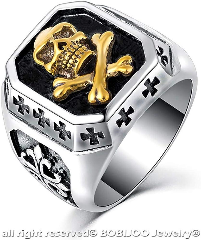 Imposante Bague Chevali/ère T/ête dEl/éphant Acier Inoxydable Dor/é Plaqu/é Or Homme BOBIJOO Jewelry