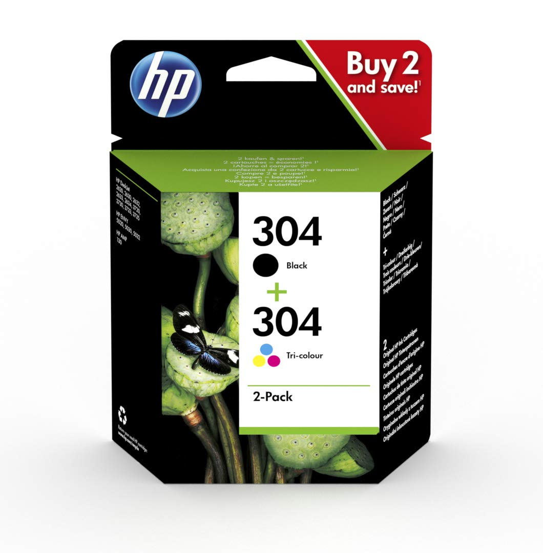 HP 3JB05AE 304 Original Ink Cartridges, Black and Tri-Colour, Multipack