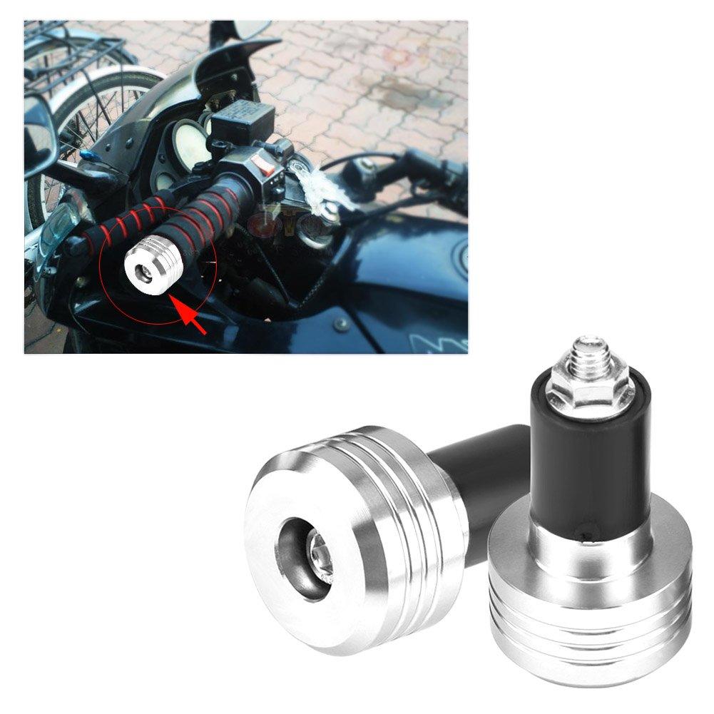 plata Qiilu par de 22mm Universal Manillar de agarre de la motocicleta Termina de Aluminio Tap/ón de equilibrio de peso
