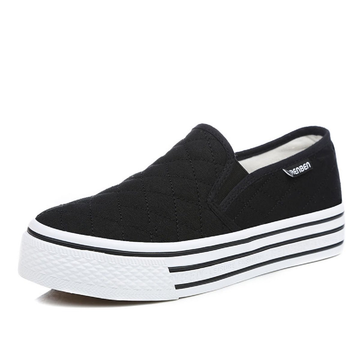 9e725c9a0a6c Amazon.com  Renben Womens Canvas Slip On Flat Casual Sneaker Platform  Fashion Low Top Shoes  Clothing