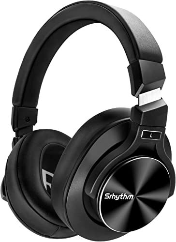Noise Cancelling Headphones Bluetooth V5.0 Wireless,40Hours Playtime Headsets Over Ear with Microphones Fast Charge,Srhythm NC75 Pro for TV PC Cell Phone – Low Latency