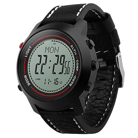 TECKEY Al aire libre escalada relojes inteligentes hombres relojes electrónicos para deportes termómetro altímetro brújula cronómetro