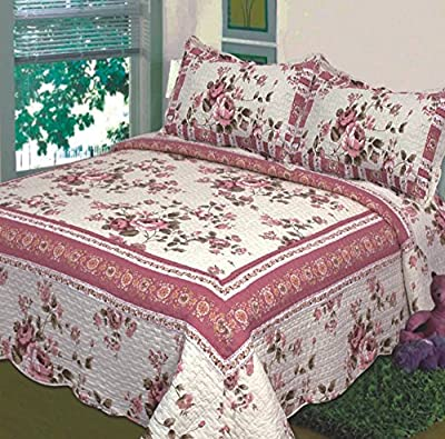 Fancy Collection 3 Pc Bedspread Bed Cover Beige Pink Floral