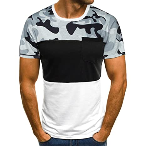 Camisetas Hombre Originales Manga Corta ZARLLE Camo Empalme Autocultivo Casual Camiseta De Manga Corta De Personalidad Deporte… ZYGNIpP