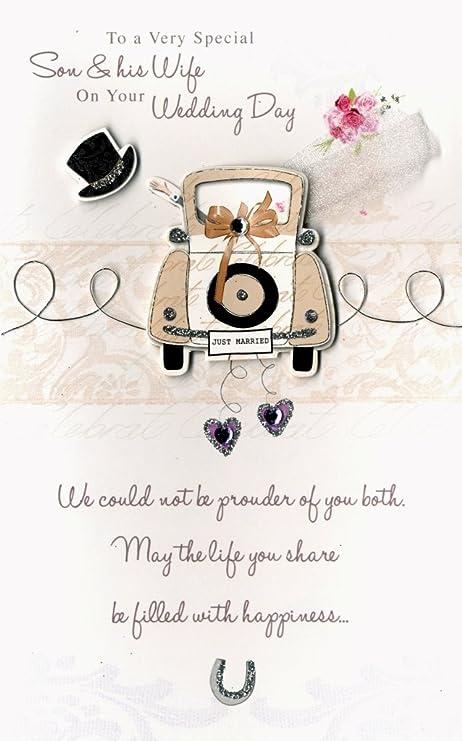 Amazon.com: Son & esposa Embellished boda tarjeta de ...