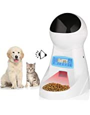 amzdeal Automatic Cat Food Dispenser Automatic Pet Feeder 4 Meals 3L Cat Feeder with Timer, Programme Settings, Voice Recorder, LCD Panel, Works for Dogs and Cats