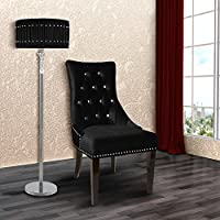 Armen Living LCF024TUSIBL Carlyle Side Chair in Black Velvet and Black Wood Finish