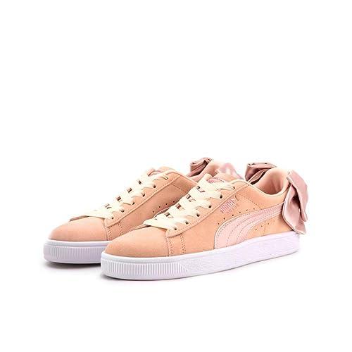 Scarpe donna sneakers PUMA SUEDE BOW VALENTINE in camoscio rosa pesca 367609 01