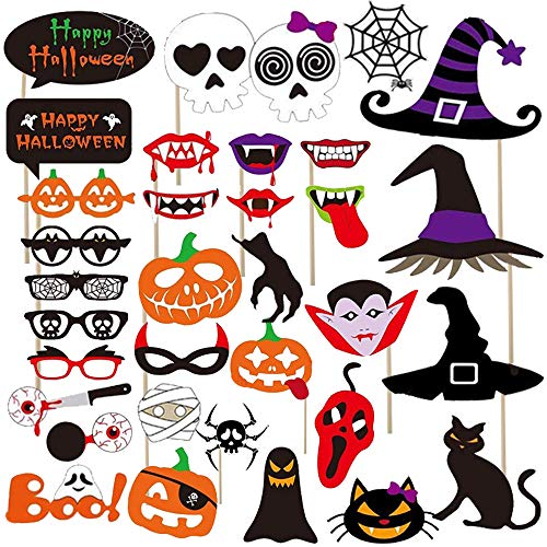 52Ct Halloween Photo Booth Props - Halloween Events//Gothic Themed/Haunted House Party Decorations for Kids Adults Party Favors -