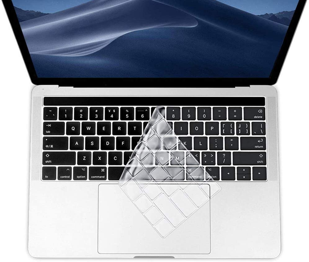 Ultra Thin Keyboard Cover Compatible with MacBook Pro 13 and 15 Inch 2019 2018 2017 2016 with Touch ID Model A2159, A1989, A1990, A1706, A1707 -TPU