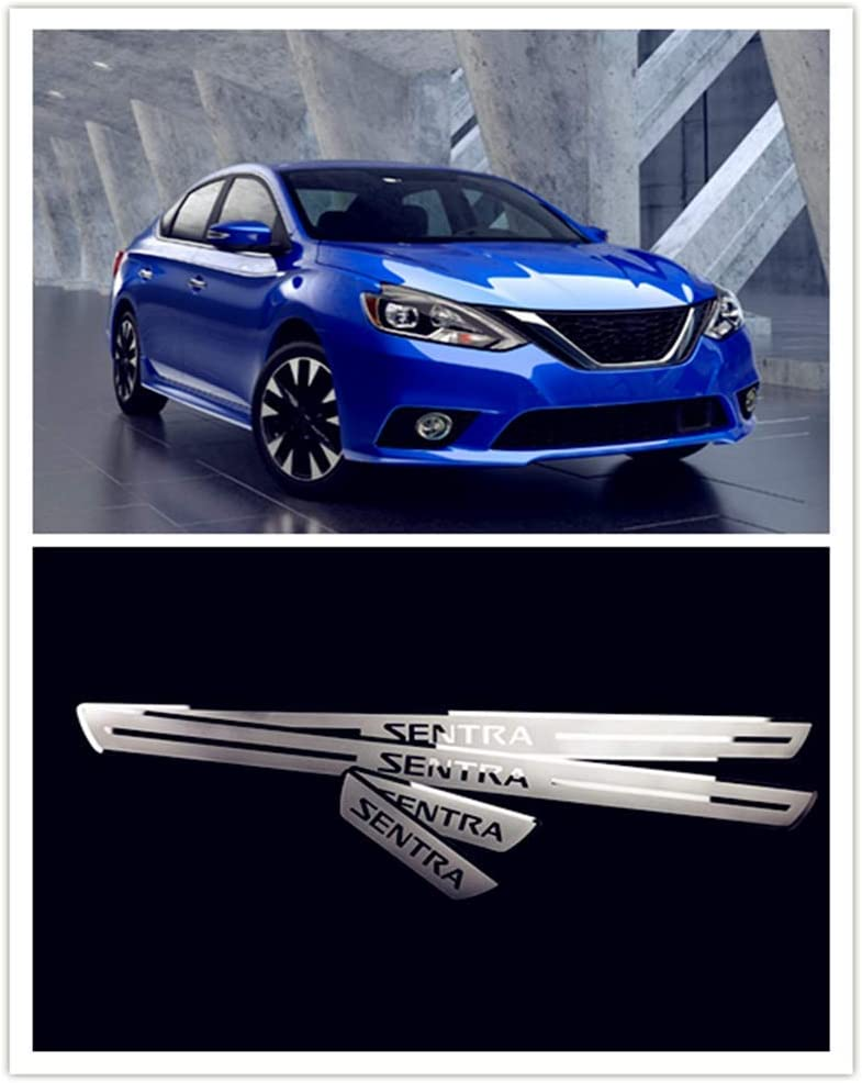 For Nissan Sentra Accessories 2012-2018 Steel Door Sill Scuff Plate Door Sill Protector Guard Cover Trim 4pcs