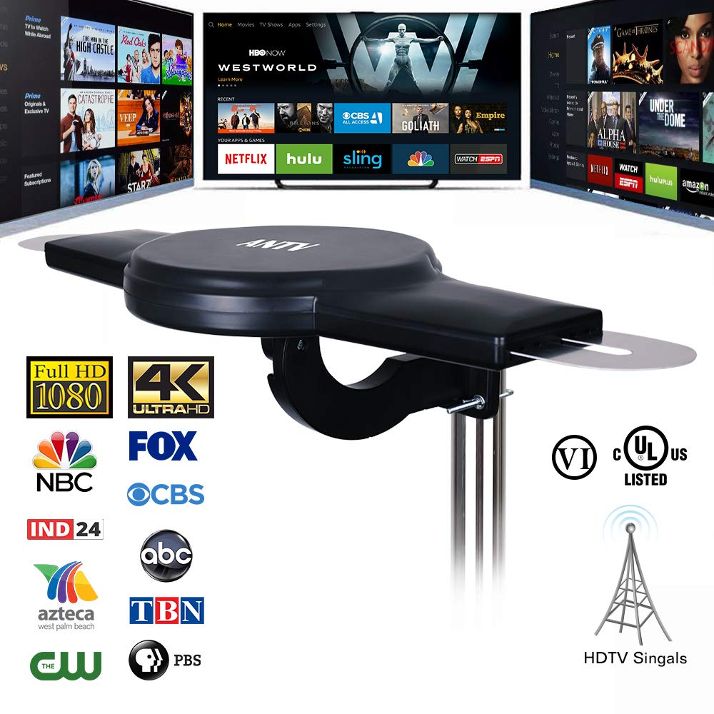 ANTV Amplified Outdoor HDTV Antenna, 360° Omni-Directional VHF/UHF Enhanced Reception Fit Indoor/Outdoor/RV/Attic Use, 70 Miles Long Range TV Antenna with 33ft High Gain coaxial Cable by ANTV