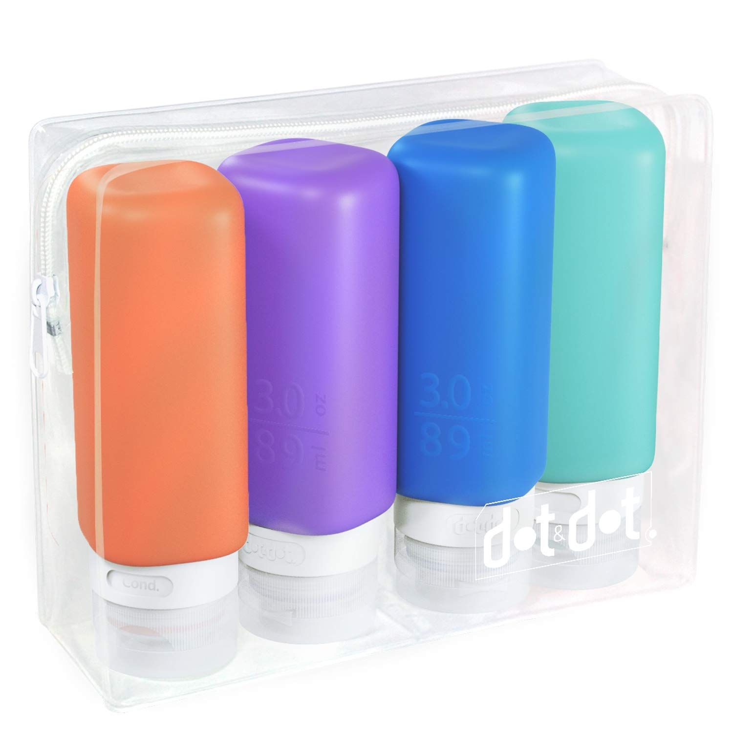 Leak Proof Refillable Silicone Travel Bottles - 3oz Travel Size Containers - Squeeze Bottle with TSA Bag