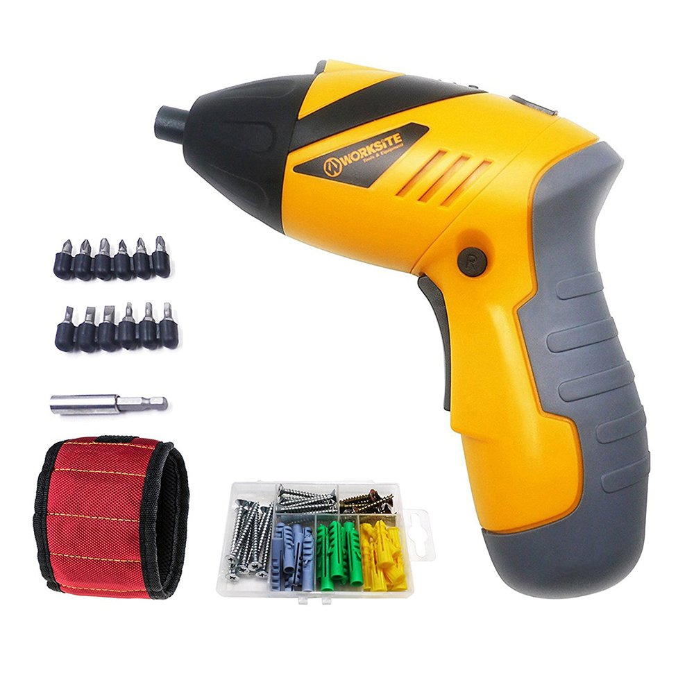 3.6V Cordless Screwdriver WORKSITE CSD-144 1300mA Lithium-Ion Battery Rotating in Multi-angle Rechargeable Electric Screwdriver with 13 Pcs Bits ,30 Pcs Expansion Screw, Magnet Wristband and Led Light