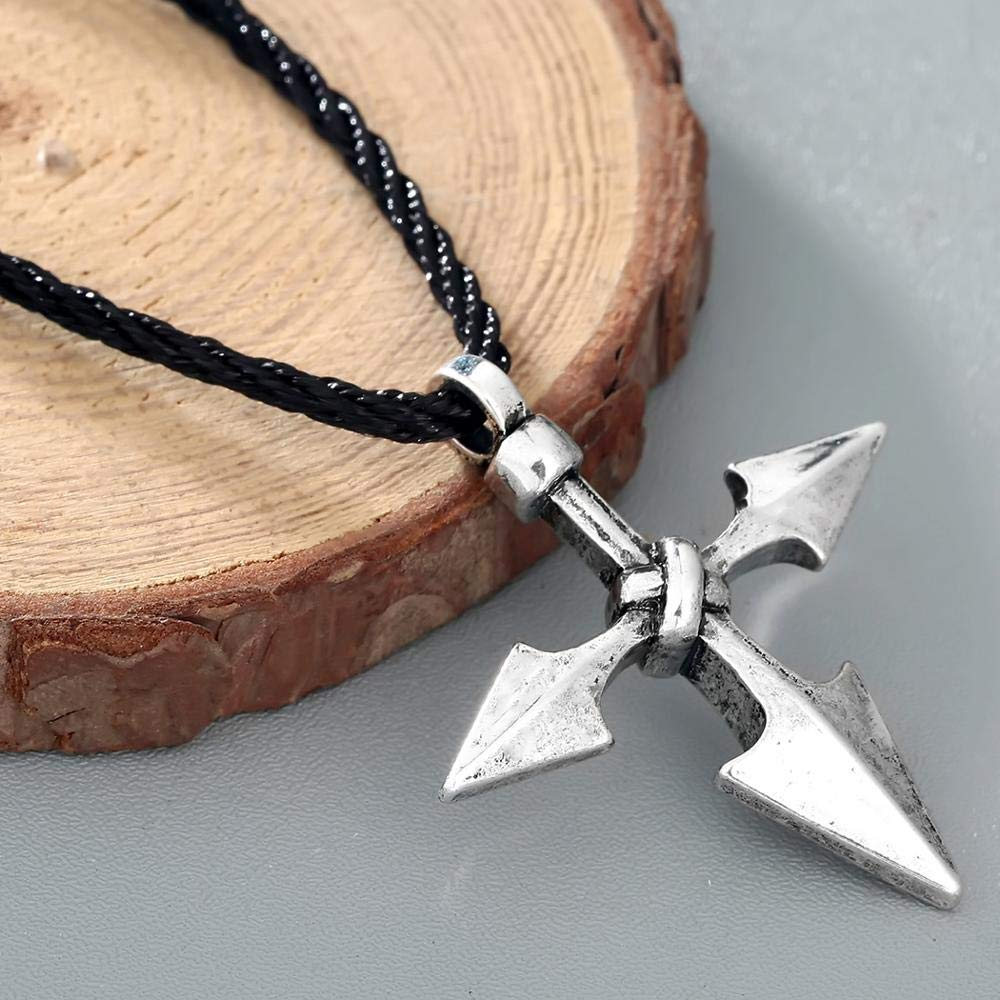 Large Warrior Spear Viking Cross Jewelry Vintage Antique Silver Pendant for Men Arrow Chic Necklaces