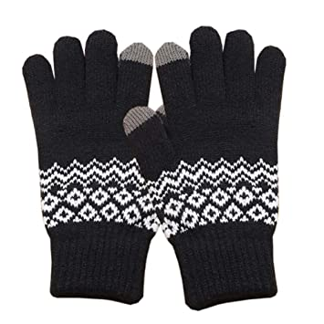 b8095c2ae Image Unavailable. Image not available for. Color: alignmentpai Thicken  Touch Screen Warm Crochet Men Women Knitted Gloves Full Finger Mittens Black