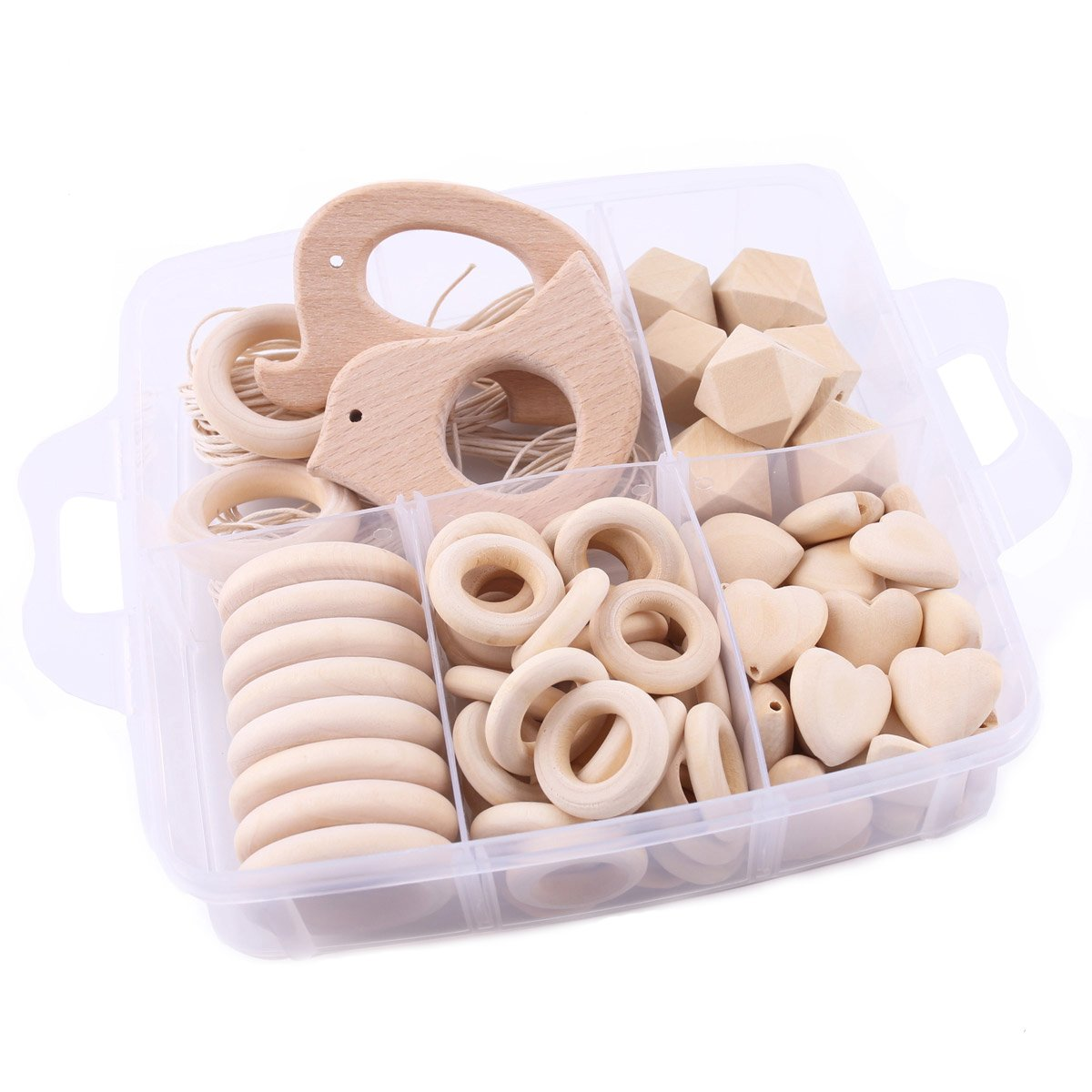 Baby love home Baby Teether Wooden Teething Unfinished Beads DIY Teething Necklace Kit Organic Teether Wood Charms Baby Shower Gift