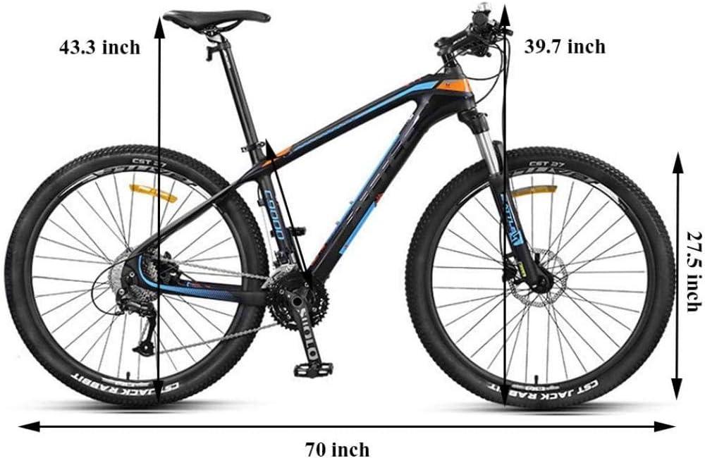 27 bicicletas de monta/ña para adultos de 5 pulgadas Marco de fibra de carbono ultraligero Bicicleta de monta/ña Trail Dual Brake Brake Hombres Mujeres Bicicleta de monta/ña r/ígida Amarillo 30 Velocidad