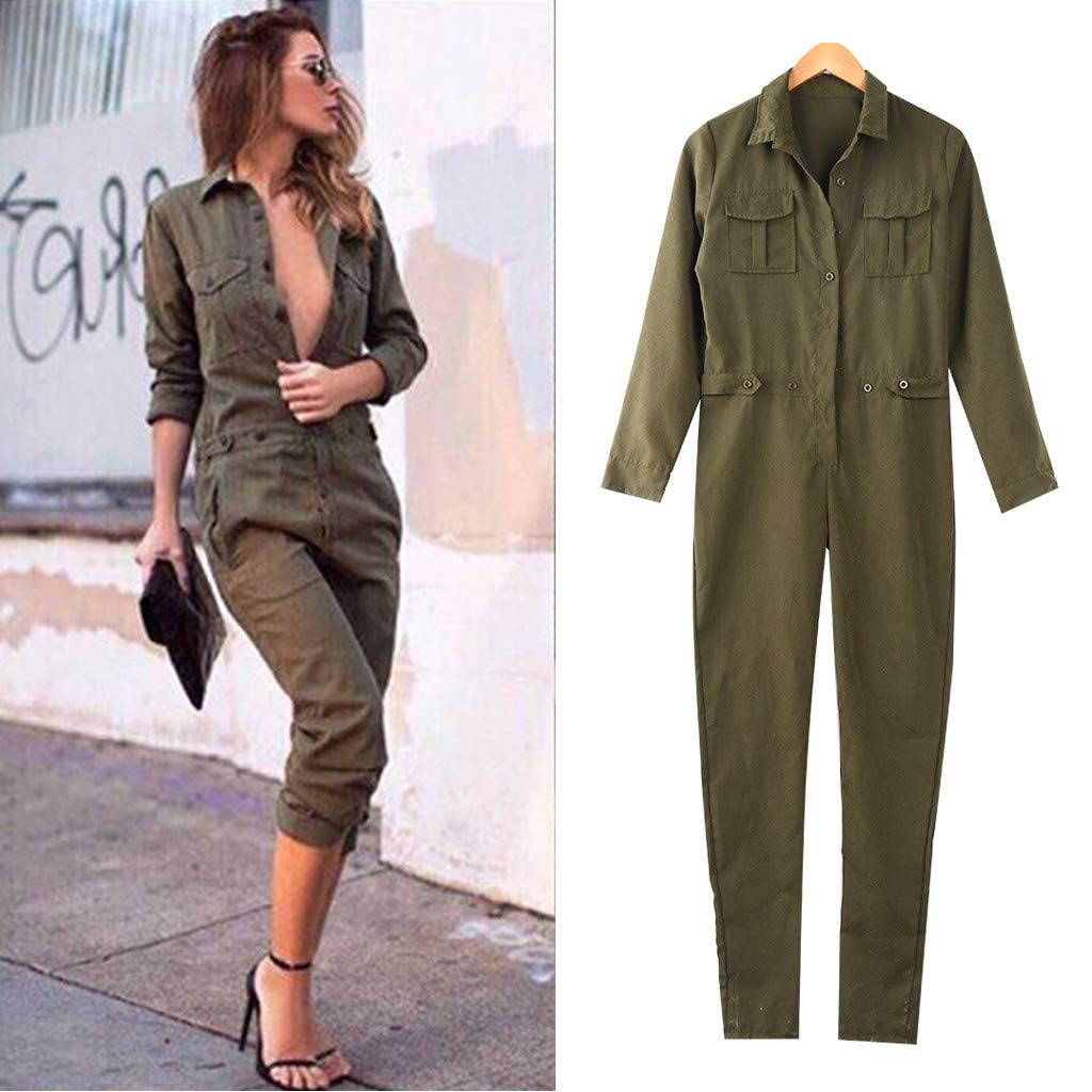shamrock58 Women Lapel Long Sleeve Front Buttoned Street Trend Tooling Office Lady Jumpsuit