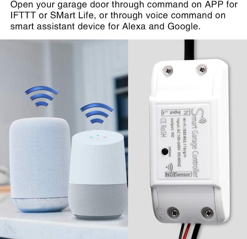 Contr/ôleur de porte de garage Smart WiFi T/él/écommande Compatible Ouvre-porte de garage APP Prise en charge du dispositif de contr/ôle pour Alexa Google eu