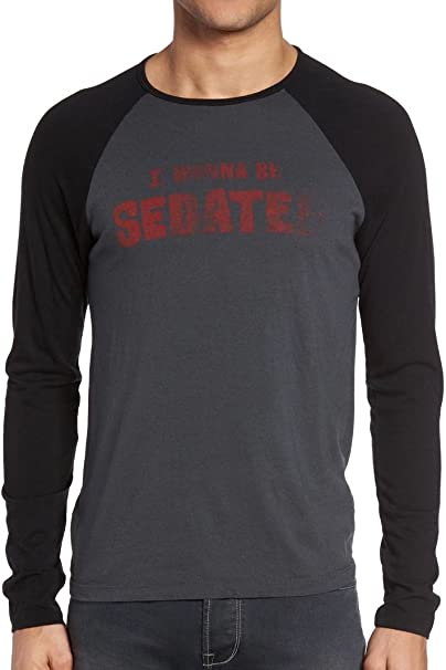 John Varvatos Star USA Men/'s I Wanna Be Sedated Ramones Long Sleeve Raglan Shirt
