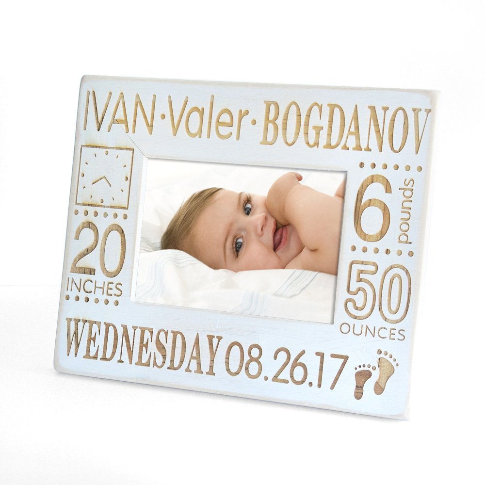 Amazoncom Rustic Personalized Baby Framevintage Wooden Custom