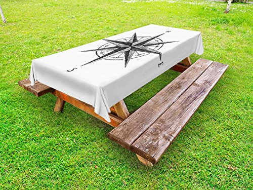 Compass Decor Complete Room - Ambesonne Compass Outdoor Tablecloth, Seamanship Hand Drawn Windrose with Complete Directions North South West, Decorative Washable Picnic Table Cloth, 58 X 84 inches, Charcoal Grey White