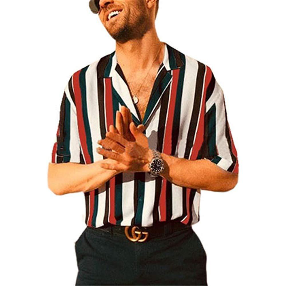 Newstarshop Men Fashion Short Sleeve Regular Fit Shirt Casual Vertical Striped Shirt
