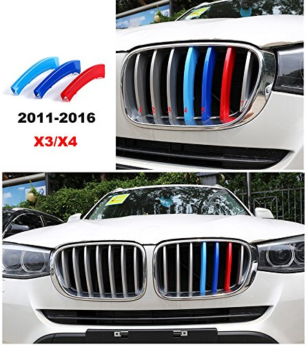 8X-SPEED 3 colors 3D styling M Front Grille Insert Trim Strips Cover performance Decoration Stickers for 2011 to 2016 BMW X3 X4 F25 F26