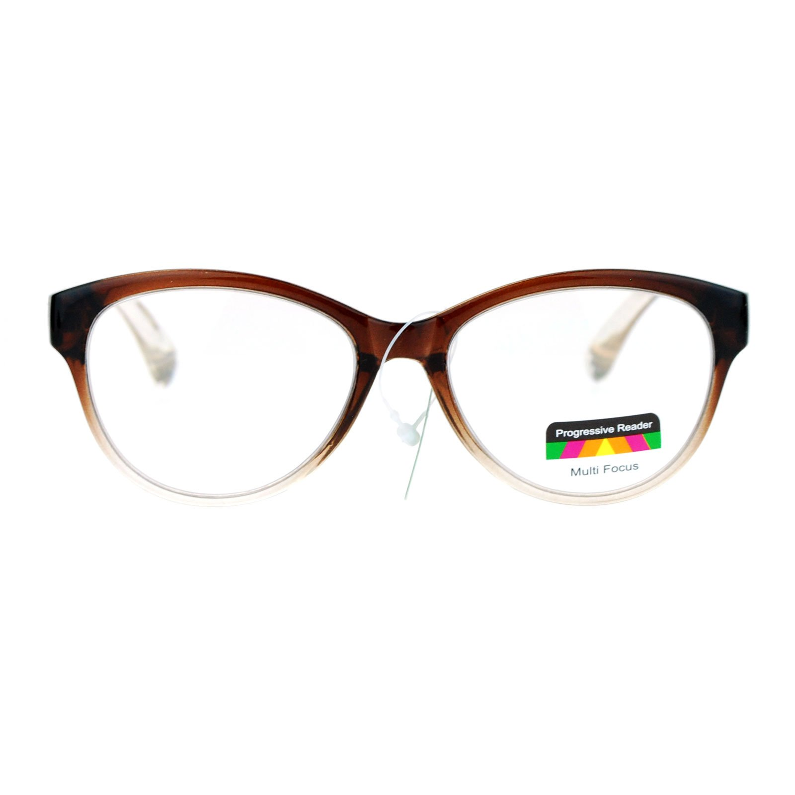 SA106 Cat Eye Multi 3 Focus Progressive Reading Glasses Brown 2.0