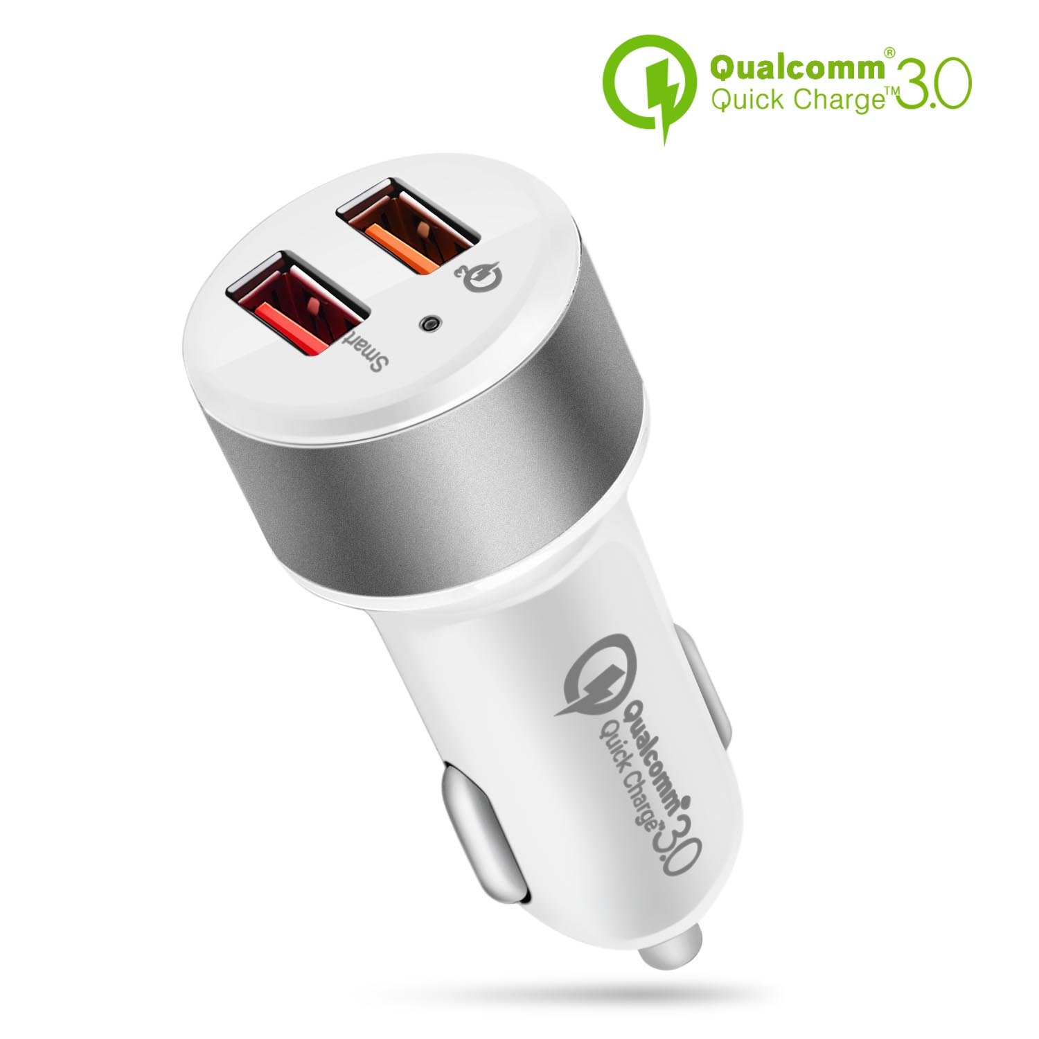 TNP Dual USB Port Car Charger with Quick Charge 3.0 Smart Fast Charge Port Power Adapter for iPhone X/8/7/Plus, iPad Pro/Air/Mini, Samsung Galaxy ...