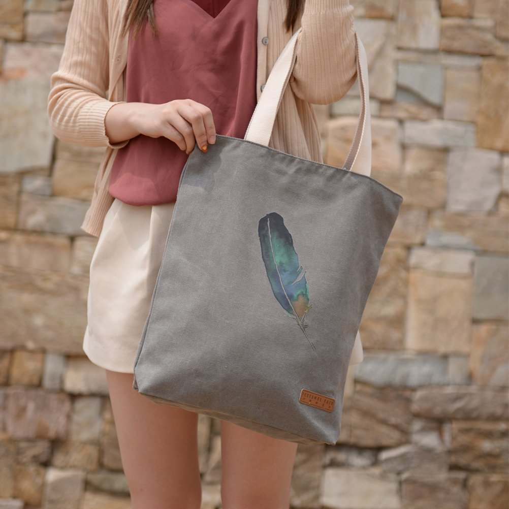 dfe2d784bd Amazon.com  Vintga Simple Korean Large Heavy Duty Canvas Tote Bag Printed  Design