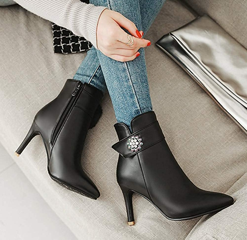 Unm Womens Rhinestone Dress Pointed Toe Short Boots Stiletto High Heel Inside Zip Up Ankle Booties with Zipper
