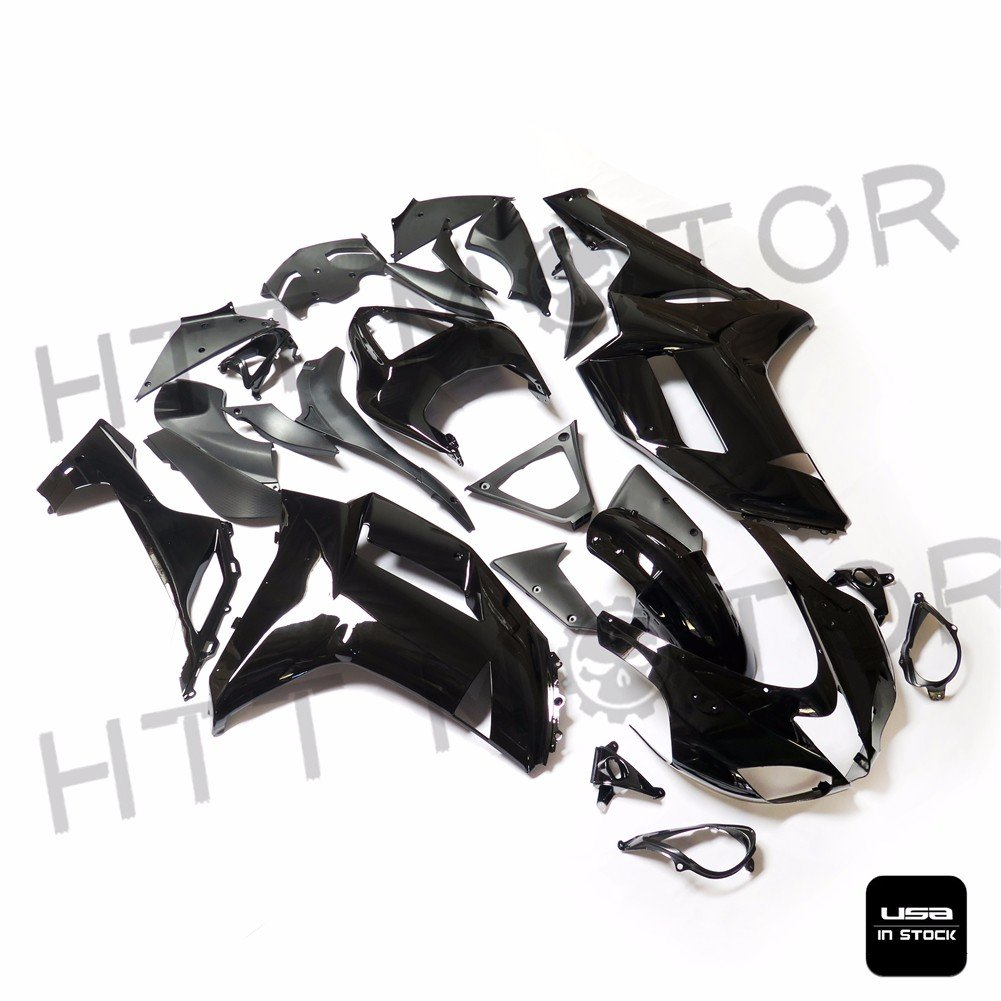 Amazon.com: SMT MOTO- Glossy Black ABS Plastic Fairings ...