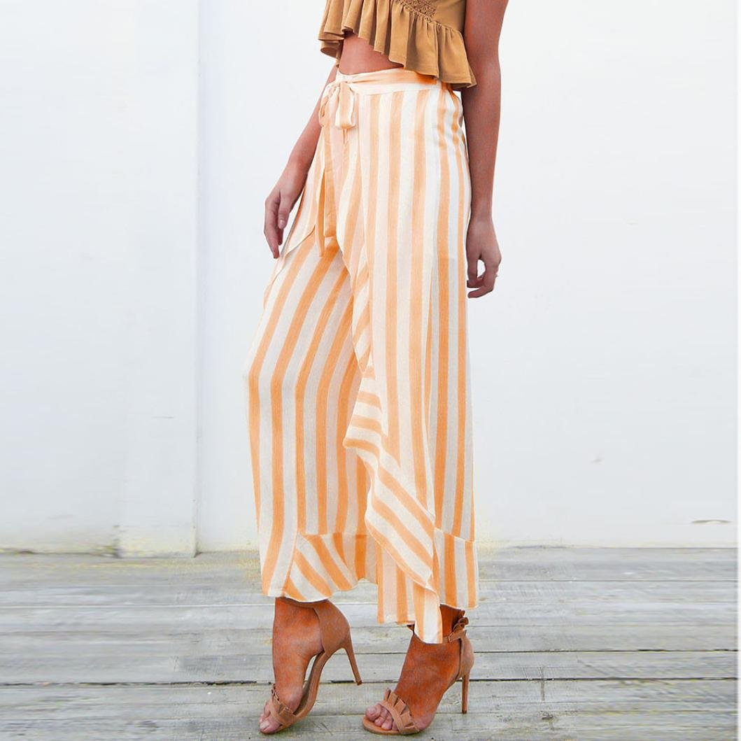 289c0042ab9 Womens High Waist Yellow Striped Wide Leg Long Palazzo Bell Bottom Skinny Trousers  Elogoog Hot Sale
