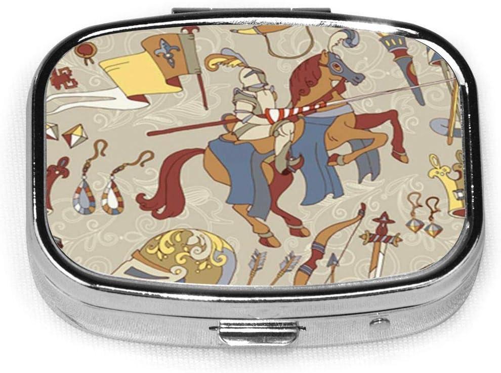 Medieval de patrones sin fisuras legendario caballero acorazado guerrero a caballo antiguo cuadrado pastillero cajas decorativas pastillero Med