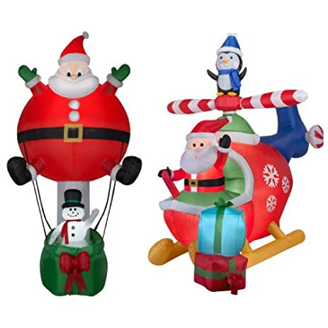 8 christmas inflatable helicopter scene with santa and penguin and santa hot air balloon ride