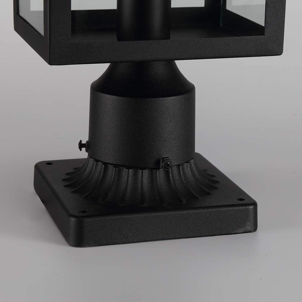 Black Finish with Clear Glass A303-2 Post Light Outdoor Post Light Fixtures 1-Light Exterior Post Light Fixtures Outdoor Post Lantern with 3-Inch Pier Mount Base