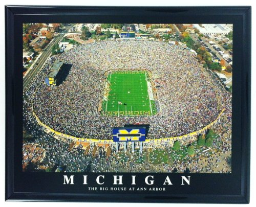 Framed Football Michigan Ann Arbor Aerial Stadium Print Wall Art F7518A