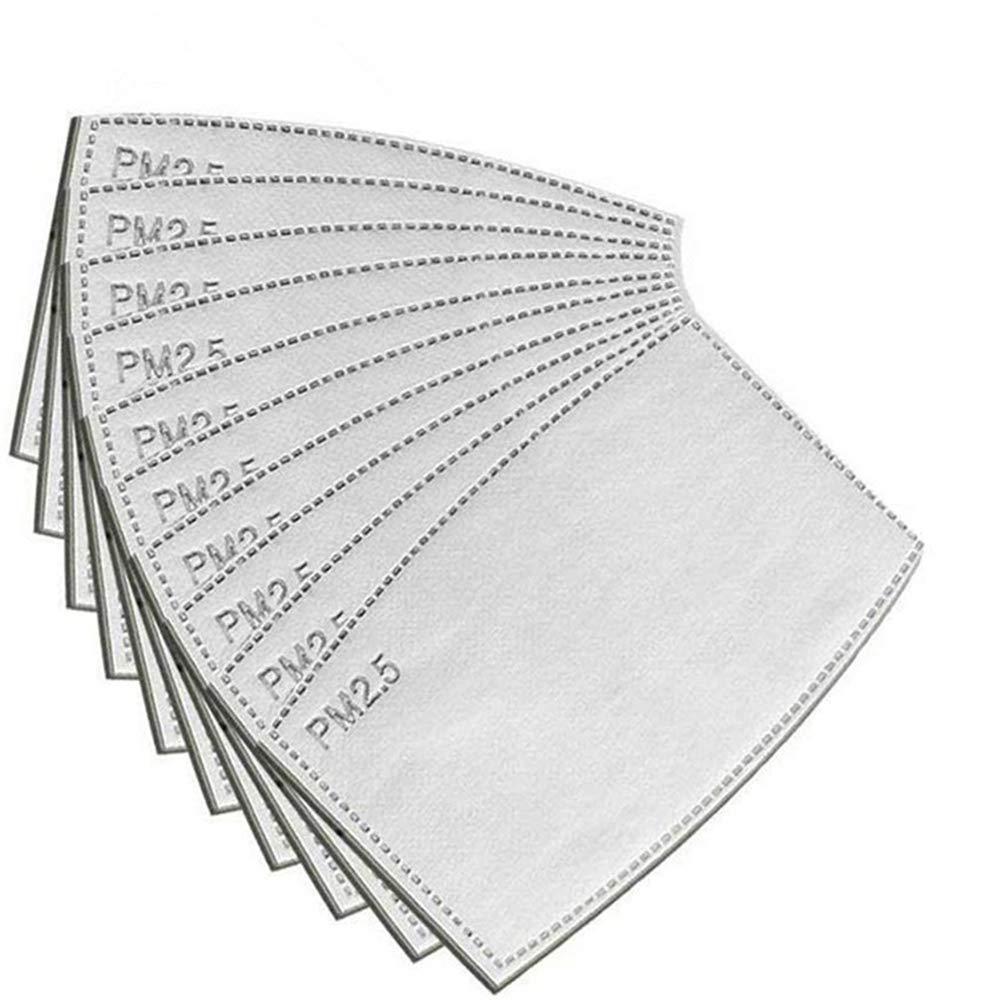 Eaglcter Filtros de carbón activado PM2.5, filtro de carbón activo protector de 5 capas, filtro de respiración reemplazable (50 piezas)