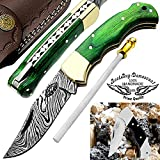 "Green Wood 6.5"" Custom Handmade Damascus Steel Brass Bloster Back Lock Folding Pocket Knife 100% Prime Quality With Sharpening Rod Plus Real Buffalo Horn Stainless Steel Pocket Knive ""LIMITED OFFER"""
