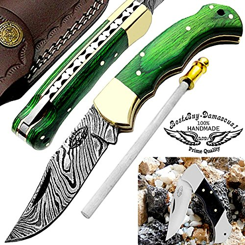 """Green Wood 6.5"""" Custom Handmade Damascus Steel Brass Bloster Back Lock Folding Pocket Knife 100% Prime Quality With Sharpening Rod Plus Real Buffalo Horn Stainless Steel Pocket Knive """"LIMITED OFFER"""""""