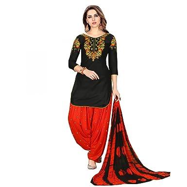 30dead8035 Velina Patiala Salwar Embroidered Cotton Salwar Kameez Suit India/Pakistani  Dress (Black 2,