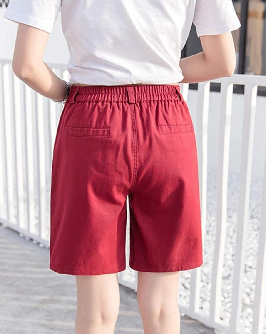 desolateness Womens Elastic Waist Wide Leg Shorts Casual Comfy Shorts
